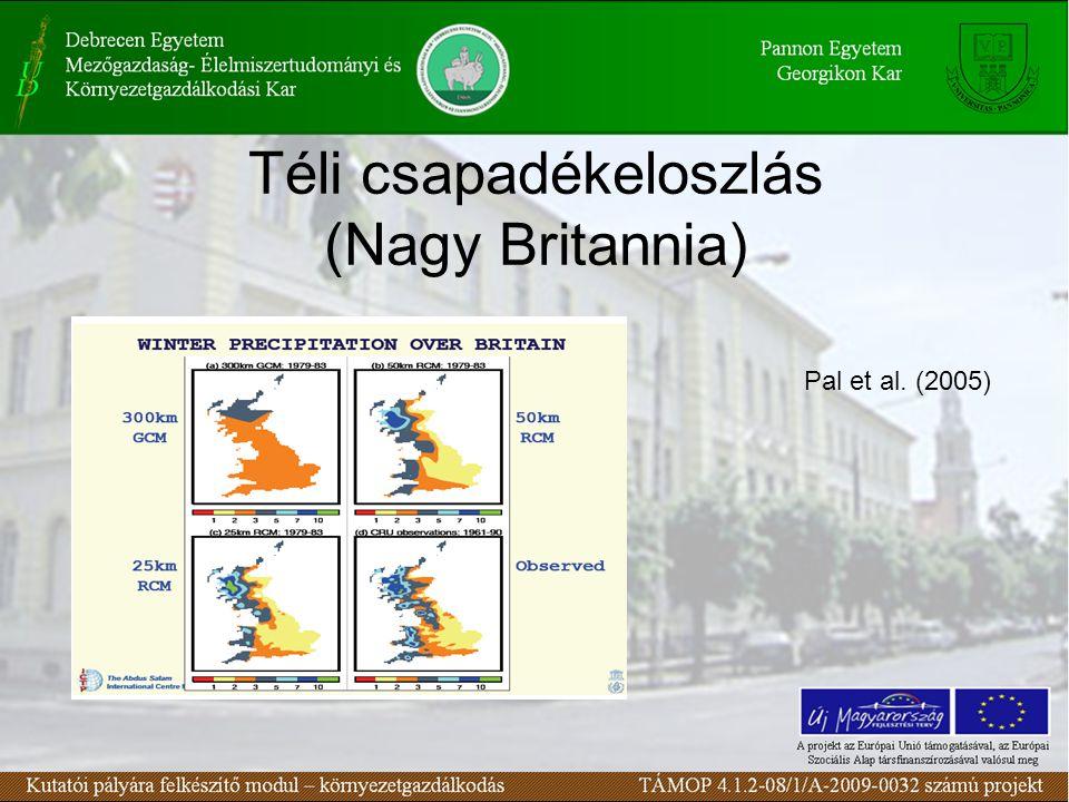 Téli csapadékeloszlás (Nagy Britannia) Pal et al. (2005)