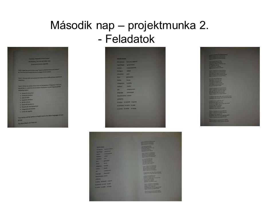 Második nap – projektmunka 2. - Feladatok