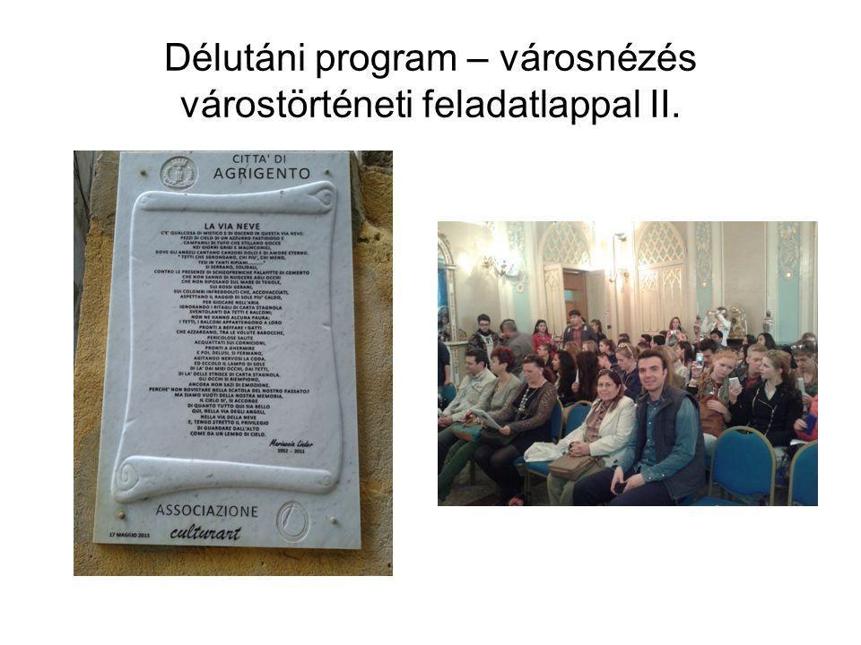 Délutáni program – városnézés várostörténeti feladatlappal II.