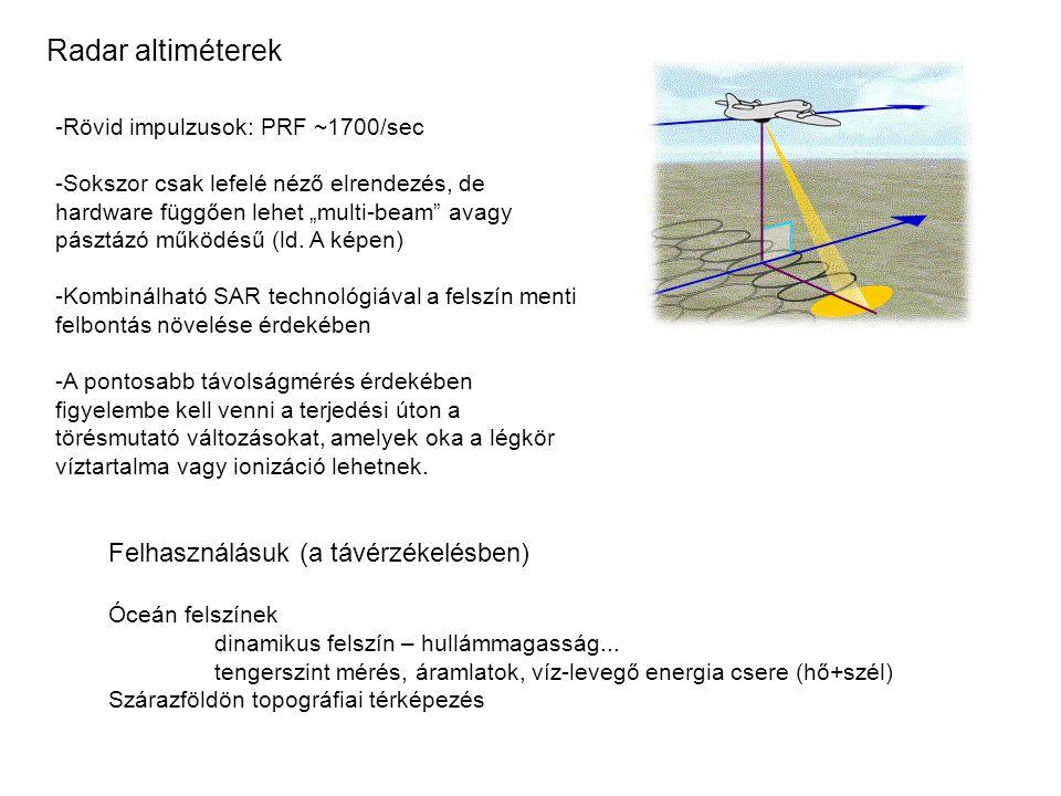 """Radar altiméterek -Rövid impulzusok: PRF ~1700/sec -Sokszor csak lefelé néző elrendezés, de hardware függően lehet """"multi-beam"""" avagy pásztázó működés"""