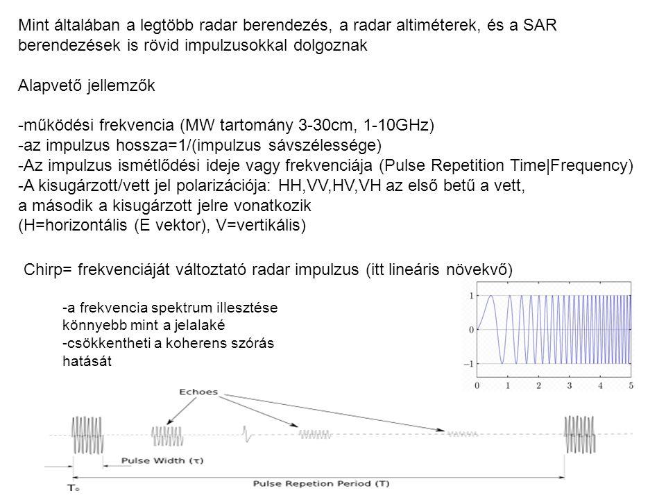Chirp= frekvenciáját változtató radar impulzus (itt lineáris növekvő) -a frekvencia spektrum illesztése könnyebb mint a jelalaké -csökkentheti a koher