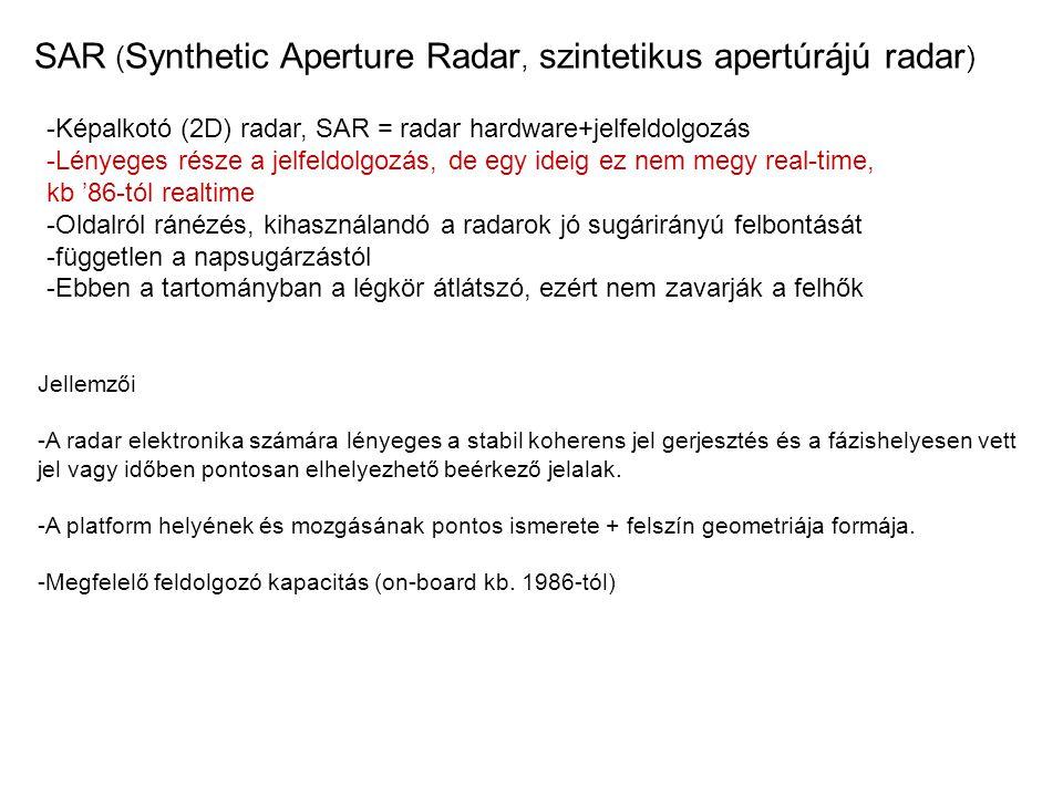 SAR ( Synthetic Aperture Radar, szintetikus apertúrájú radar ) -Képalkotó (2D) radar, SAR = radar hardware+jelfeldolgozás -Lényeges része a jelfeldolg