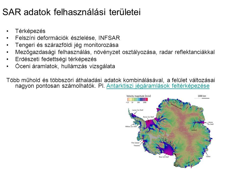 SAR adatok felhasználási területei Térképezés Felszíni deformációk észlelése, INFSAR Tengeri és szárazföldi jég monitorozása Mezőgazdasági felhasználá