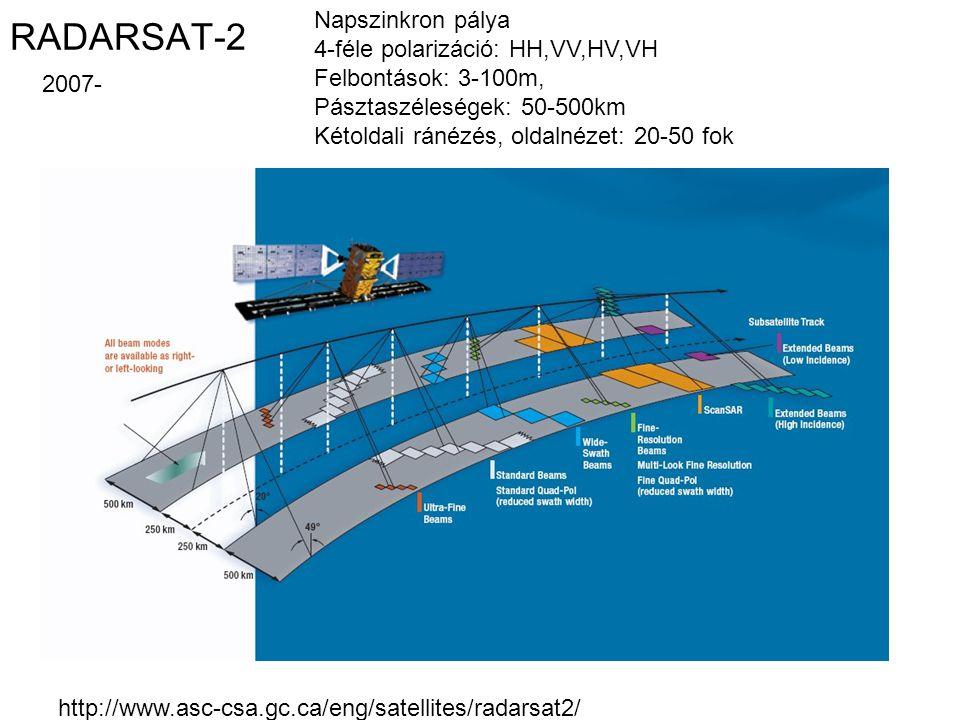 RADARSAT-2 Napszinkron pálya 4-féle polarizáció: HH,VV,HV,VH Felbontások: 3-100m, Pásztaszéleségek: 50-500km Kétoldali ránézés, oldalnézet: 20-50 fok