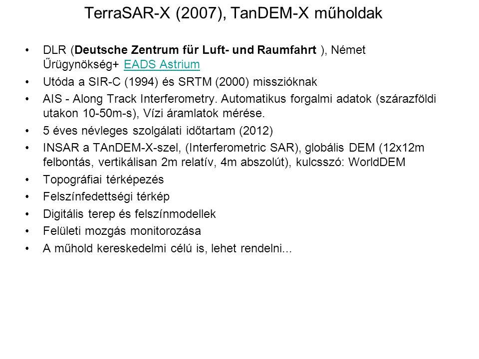 TerraSAR-X (2007), TanDEM-X műholdak DLR (Deutsche Zentrum für Luft- und Raumfahrt ), Német Űrügynökség+ EADS AstriumEADS Astrium Utóda a SIR-C (1994)