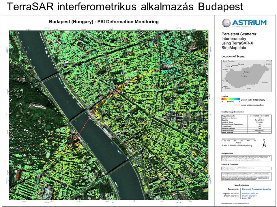 TerraSAR interferometrikus alkalmazás Budapest 4-es METRÓ építése