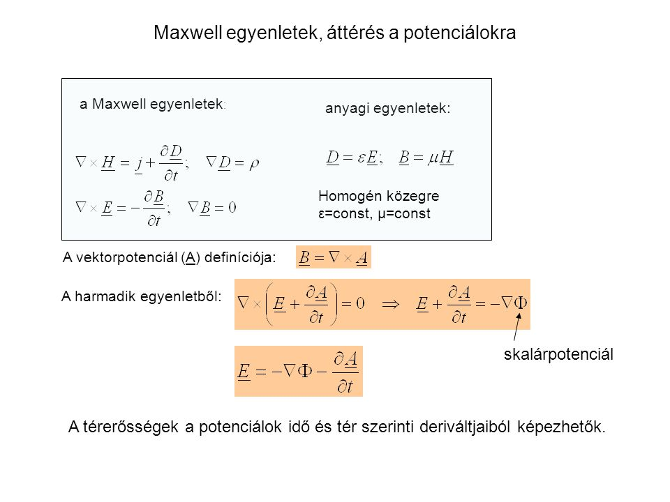 Maxwell egyenletek, áttérés a potenciálokra a Maxwell egyenletek : anyagi egyenletek: A vektorpotenciál (A) definíciója: A harmadik egyenletből: A tér