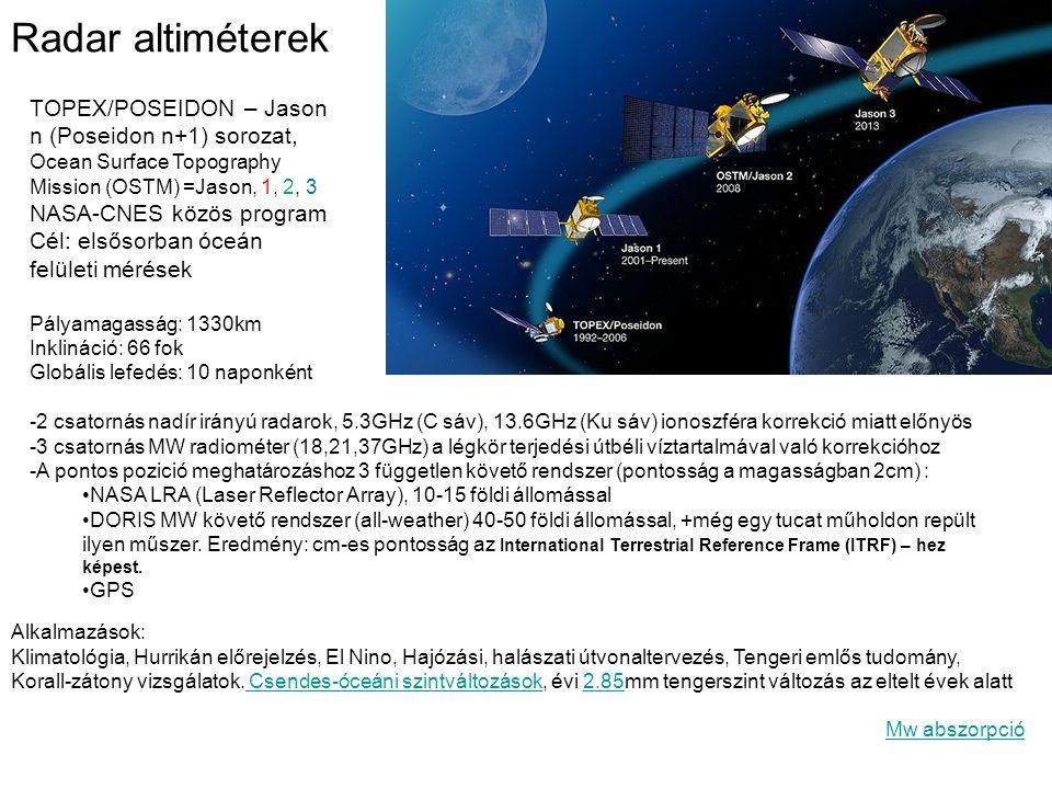 Radar altiméterek TOPEX/POSEIDON – Jason n (Poseidon n+1) sorozat, Ocean Surface Topography Mission (OSTM) =Jason, 1, 2, 3 NASA-CNES közös program Cél