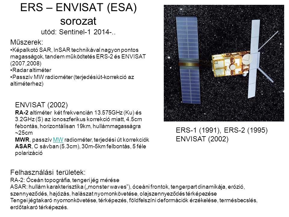 ERS – ENVISAT (ESA) sorozat utód: Sentinel-1 2014-.. Műszerek: Képalkotó SAR, InSAR technikával nagyon pontos magasságok, tandem működtetés ERS-2 és E