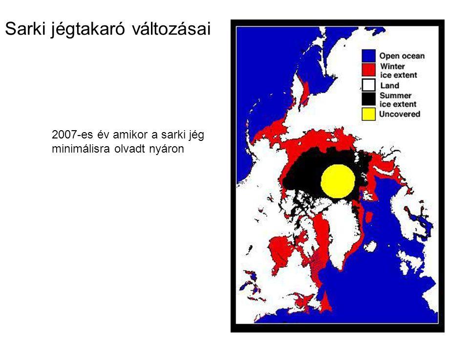 Sarki jégtakaró változásai 2007-es év amikor a sarki jég minimálisra olvadt nyáron