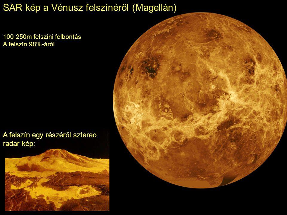 SAR kép a Vénusz felszínéről (Magellán) 100-250m felszíni felbontás A felszín 98%-áról A felszín egy részéről sztereo radar kép: