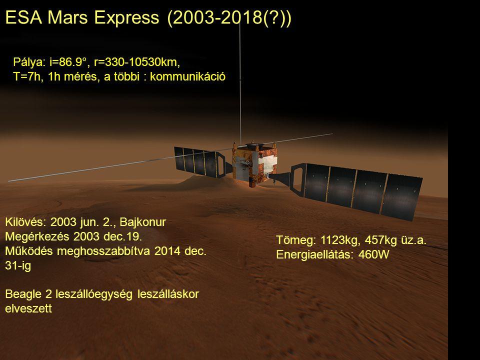 ESA Mars Express (2003-2018(?)) Kilövés: 2003 jun. 2., Bajkonur Megérkezés 2003 dec.19. Működés meghosszabbítva 2014 dec. 31-ig Beagle 2 leszállóegysé