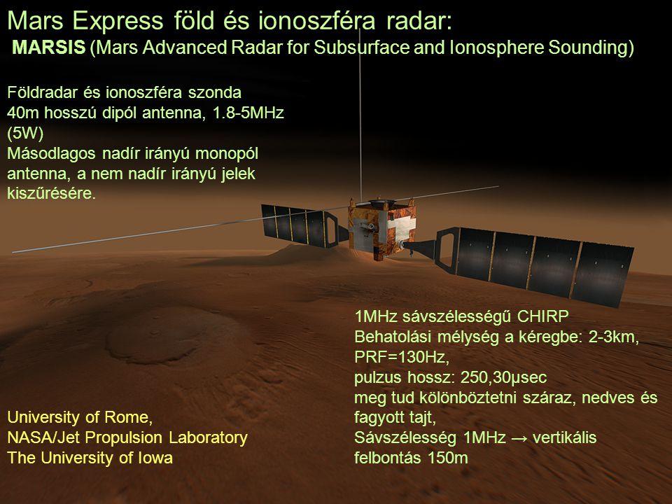 Mars Express föld és ionoszféra radar: MARSIS (Mars Advanced Radar for Subsurface and Ionosphere Sounding) Földradar és ionoszféra szonda 40m hosszú d