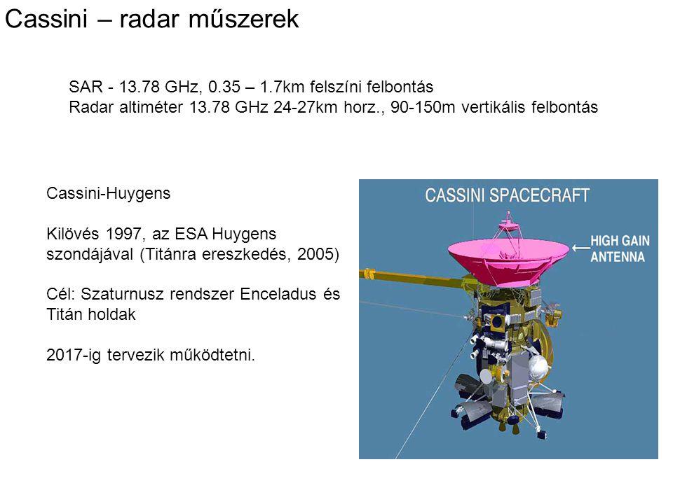 Cassini – radar műszerek SAR - 13.78 GHz, 0.35 – 1.7km felszíni felbontás Radar altiméter 13.78 GHz 24-27km horz., 90-150m vertikális felbontás Cassin