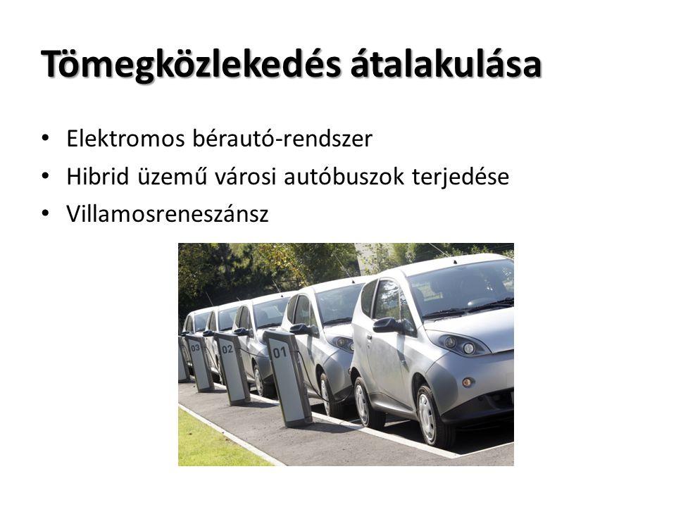 Tömegközlekedés átalakulása Elektromos bérautó-rendszer Hibrid üzemű városi autóbuszok terjedése Villamosreneszánsz