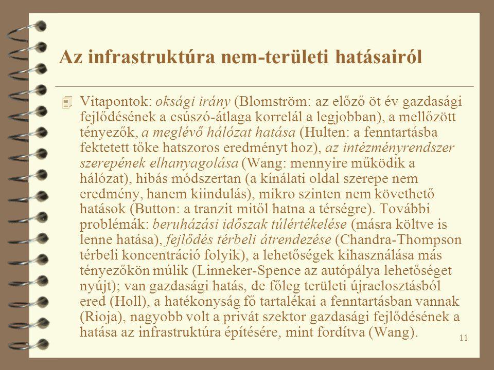 11 Az infrastruktúra nem-területi hatásairól 4 Vitapontok: oksági irány (Blomström: az előző öt év gazdasági fejlődésének a csúszó-átlaga korrelál a legjobban), a mellőzött tényezők, a meglévő hálózat hatása (Hulten: a fenntartásba fektetett tőke hatszoros eredményt hoz), az intézményrendszer szerepének elhanyagolása (Wang: mennyire működik a hálózat), hibás módszertan (a kínálati oldal szerepe nem eredmény, hanem kiindulás), mikro szinten nem követhető hatások (Button: a tranzit mitől hatna a térségre).