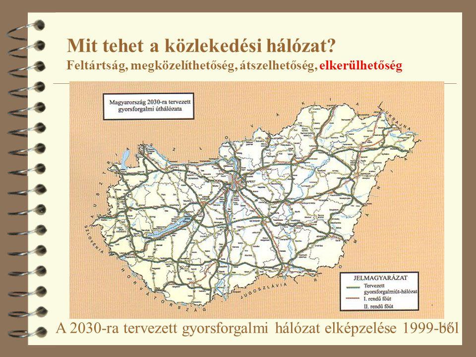 46 A 2030-ra tervezett gyorsforgalmi hálózat elképzelése 1999-ből Mit tehet a közlekedési hálózat.