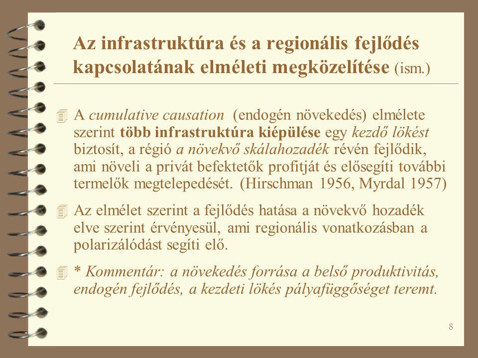 49 Egy lehetséges magyarországi régióközi folyosó-hálózati struktúra
