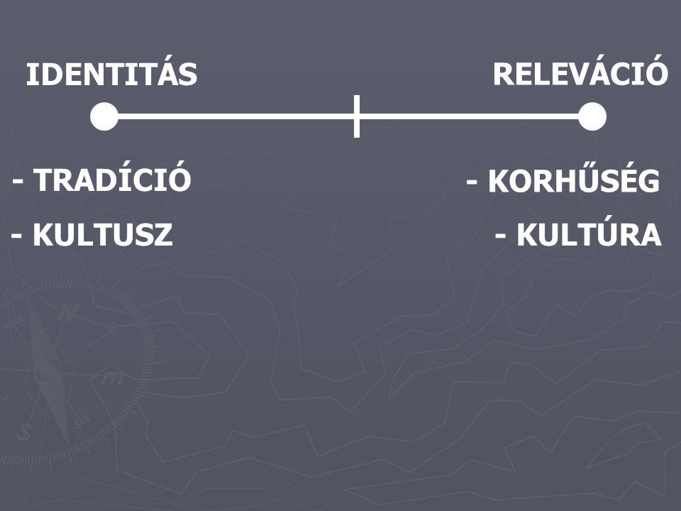 IDENTITÁS RELEVÁCIÓ - TRADÍCIÓ - KORHŰSÉG - KULTUSZ- KULTÚRA