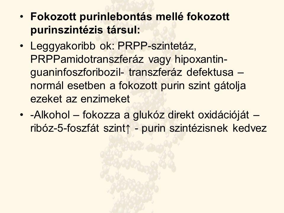 Fokozott purinlebontás mellé fokozott purinszintézis társul: Leggyakoribb ok: PRPP-szintetáz, PRPPamidotranszferáz vagy hipoxantin- guaninfoszforibozi