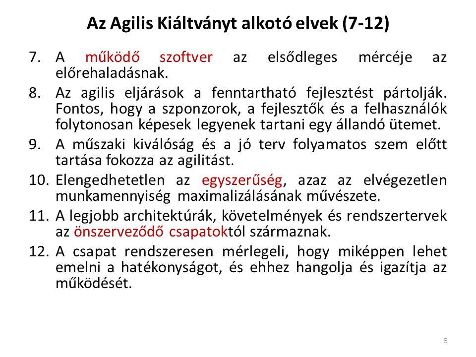 Az Agilis Kiáltványt alkotó elvek (7-12) 7.A működő szoftver az elsődleges mércéje az előrehaladásnak. 8.Az agilis eljárások a fenntartható fejlesztés