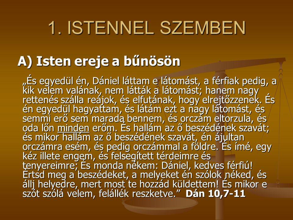 """1. ISTENNEL SZEMBEN """"És egyedül én, Dániel láttam e látomást, a férfiak pedig, a kik velem valának, nem látták a látomást; hanem nagy rettenés szálla"""