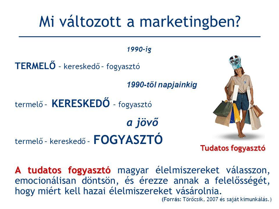 Mi változott a marketingben? 1990-ig TERMELŐ – kereskedő – fogyasztó 1990-től napjainkig termelő – KERESKEDŐ – fogyasztó a jövő termelő – kereskedő –