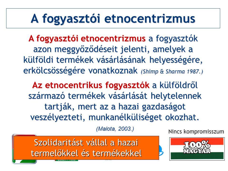 A fogyasztói etnocentrizmus A fogyasztói etnocentrizmus a fogyasztók azon meggyőződéseit jelenti, amelyek a külföldi termékek vásárlásának helyességér