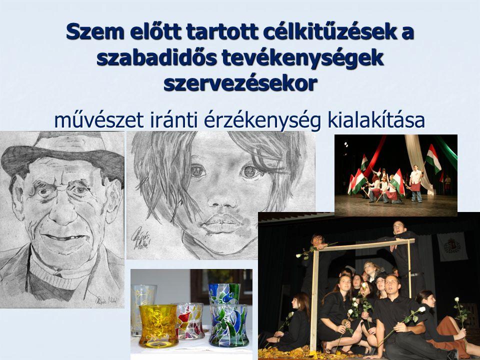 Szem előtt tartott célkitűzések a szabadidős tevékenységek szervezésekor művészet iránti érzékenység kialakítása