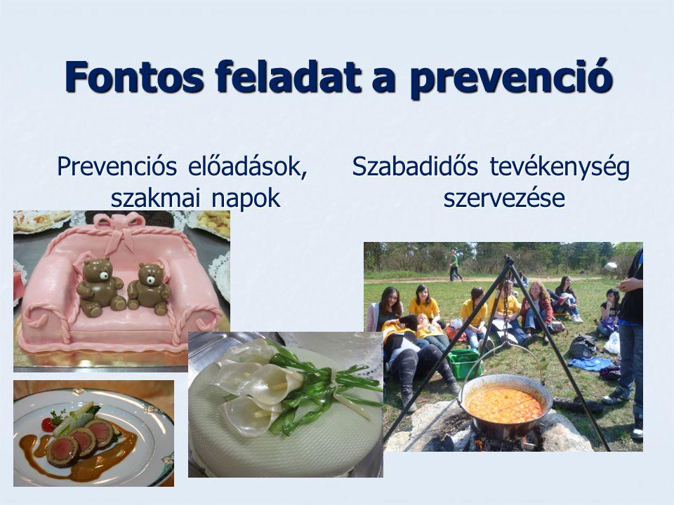 Fontos feladat a prevenció Prevenciós előadások, szakmai napok Szabadidős tevékenység szervezése