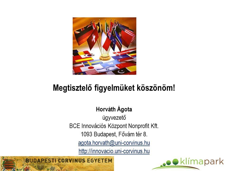 Megtisztelő figyelmüket köszönöm. Horváth Ágota ügyvezető BCE Innovációs Központ Nonprofit Kft.