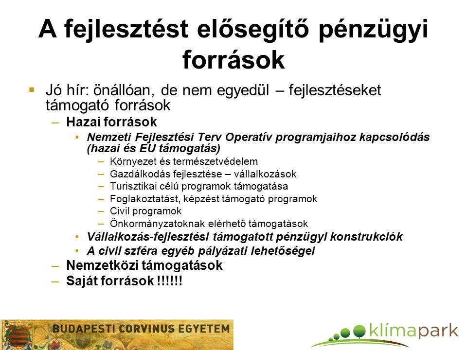 A fejlesztést elősegítő pénzügyi források  Jó hír: önállóan, de nem egyedül – fejlesztéseket támogató források –Hazai források Nemzeti Fejlesztési Terv Operatív programjaihoz kapcsolódás (hazai és EU támogatás) –Környezet és természetvédelem –Gazdálkodás fejlesztése – vállalkozások –Turisztikai célú programok támogatása –Foglakoztatást, képzést támogató programok –Civil programok –Önkormányzatoknak elérhető támogatások Vállalkozás-fejlesztési támogatott pénzügyi konstrukciók A civil szféra egyéb pályázati lehetőségei –Nemzetközi támogatások –Saját források !!!!!!