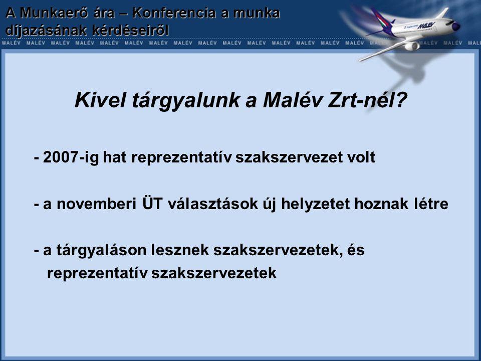 A Munkaerő ára – Konferencia a munka díjazásának kérdéseiről Kivel tárgyalunk a Malév Zrt-nél? - 2007-ig hat reprezentatív szakszervezet volt - a nove
