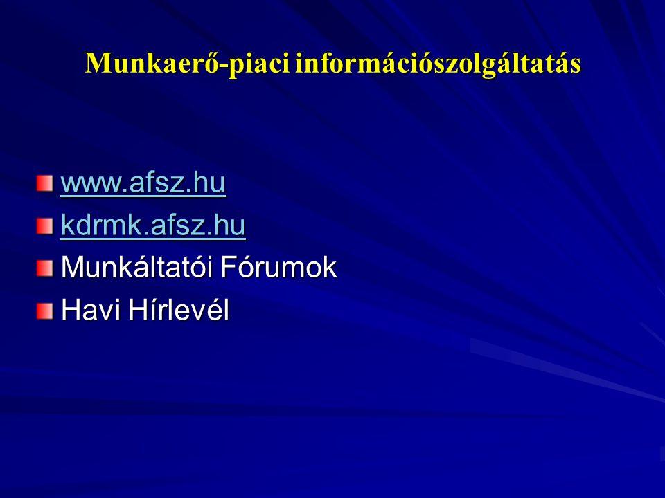 Munkaerő-piaci információszolgáltatás www.afsz.hu kdrmk.afsz.hu Munkáltatói Fórumok Havi Hírlevél