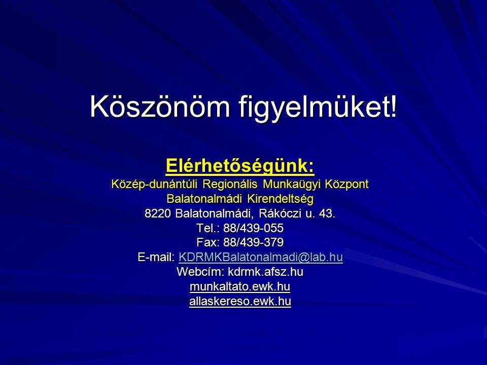 Köszönöm figyelmüket! Elérhetőségünk: Közép-dunántúli Regionális Munkaügyi Központ Balatonalmádi Kirendeltség 8220 Balatonalmádi, Rákóczi u. 43. Tel.: