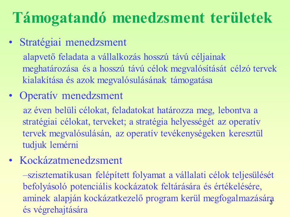 3 Támogatandó menedzsment területek Stratégiai menedzsment alapvető feladata a vállalkozás hosszú távú céljainak meghatározása és a hosszú távú célok
