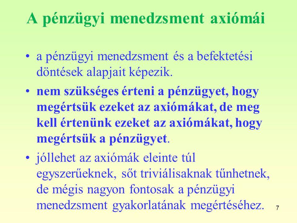 7 A pénzügyi menedzsment axiómái a pénzügyi menedzsment és a befektetési döntések alapjait képezik. nem szükséges érteni a pénzügyet, hogy megértsük e