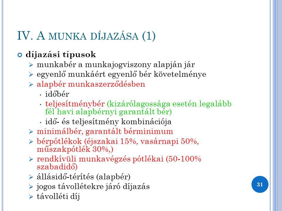 IV. A MUNKA DÍJAZÁSA (1) díjazási típusok  munkabér a munkajogviszony alapján jár  egyenlő munkáért egyenlő bér követelménye  alapbér munkaszerződé