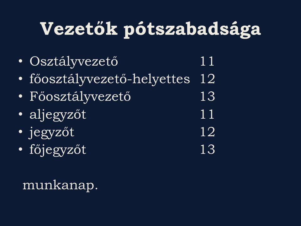 Vezetők pótszabadsága Osztályvezető 11 főosztályvezető-helyettes 12 Főosztályvezető13 aljegyzőt 11 jegyzőt 12 főjegyzőt 13 munkanap.