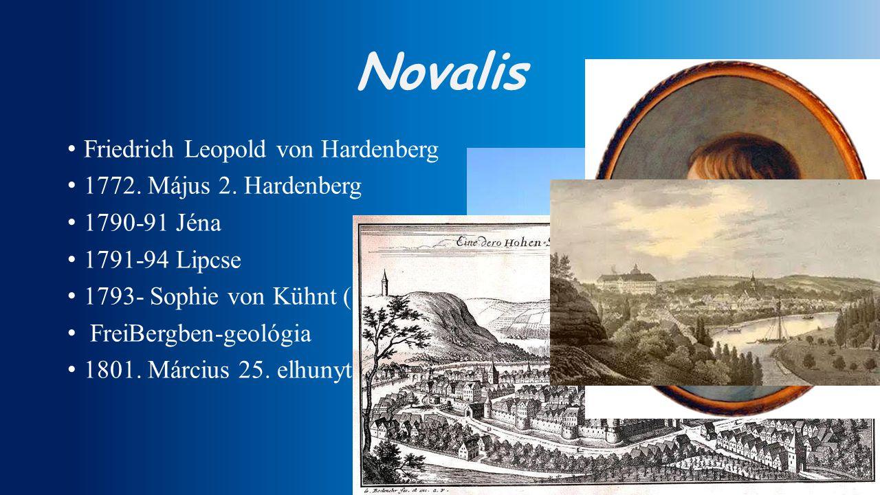 Novalis Friedrich Leopold von Hardenberg 1772. Május 2. Hardenberg 1790-91 Jéna 1791-94 Lipcse 1793- Sophie von Kühnt (1797-ben elhunyt) FreiBergben-g