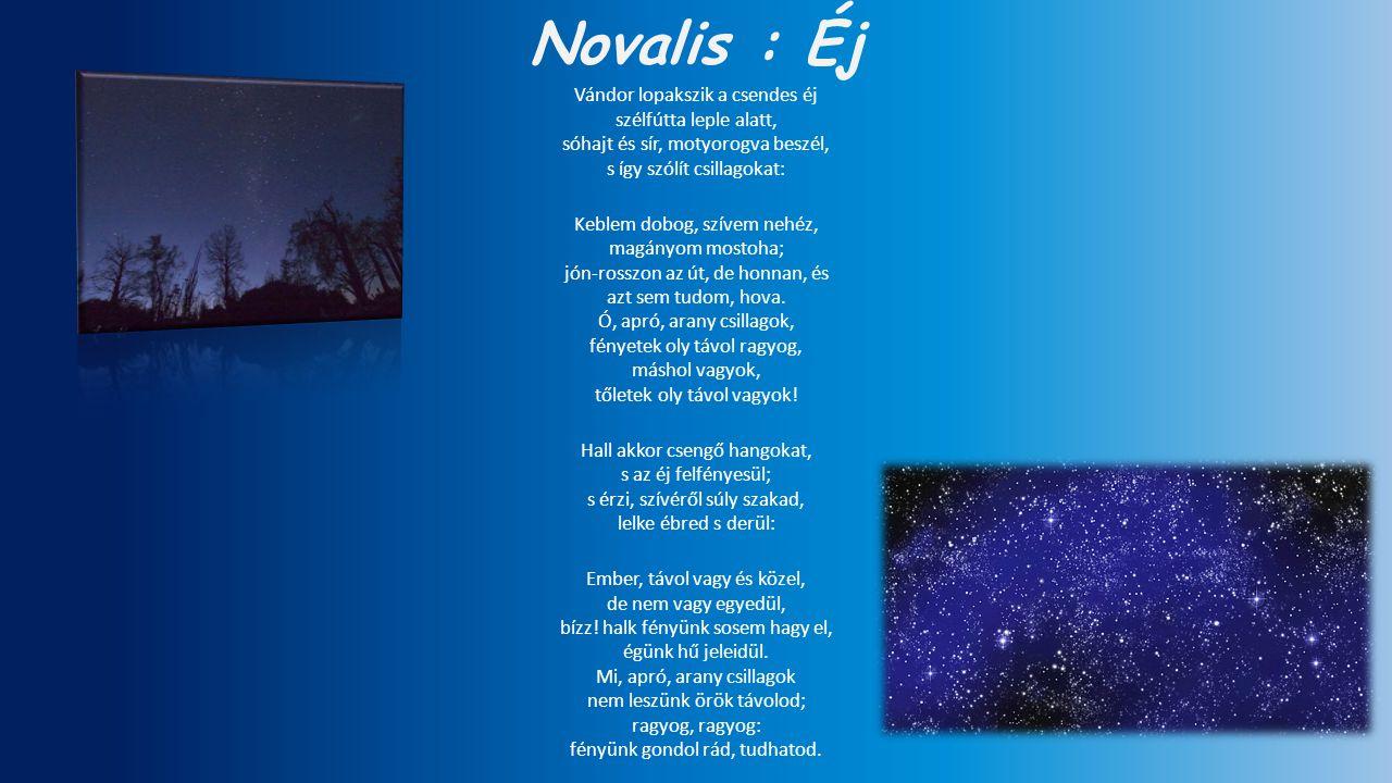 Novalis : Éj Vándor lopakszik a csendes éj szélfútta leple alatt, sóhajt és sír, motyorogva beszél, s így szólít csillagokat: Keblem dobog, szívem neh
