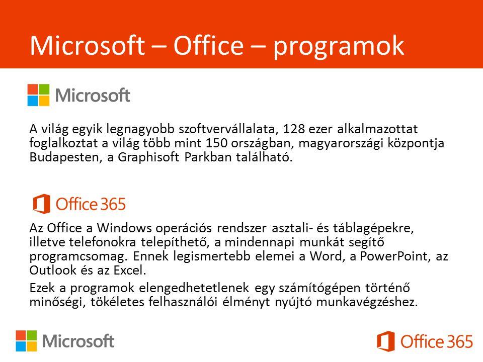 Microsoft – Office – programok - A világ egyik legnagyobb szoftvervállalata, 128 ezer alkalmazottat foglalkoztat a világ több mint 150 országban, magyarországi központja Budapesten, a Graphisoft Parkban található.