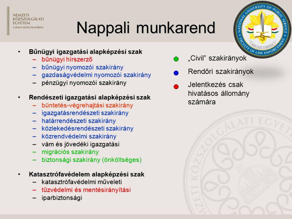 Nappali munkarend Bűnügyi igazgatási alapképzési szakBűnügyi igazgatási alapképzési szak –bűnügyi hírszerző –bűnügyi nyomozói szakirány –gazdaságvédel
