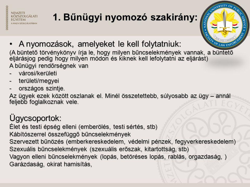 1. Bűnügyi nyomozó szakirány: A nyomozások, amelyeket le kell folytatniuk:A nyomozások, amelyeket le kell folytatniuk: (A büntető törvénykönyv írja le