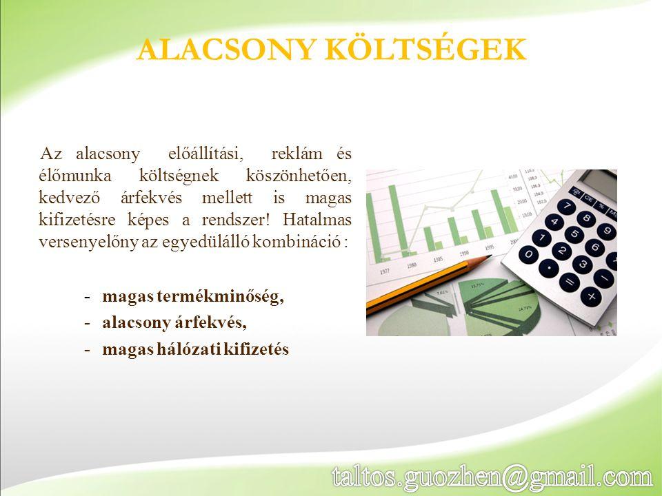 Az alacsony előállítási, reklám és élőmunka költségnek köszönhetően, kedvező árfekvés mellett is magas kifizetésre képes a rendszer.