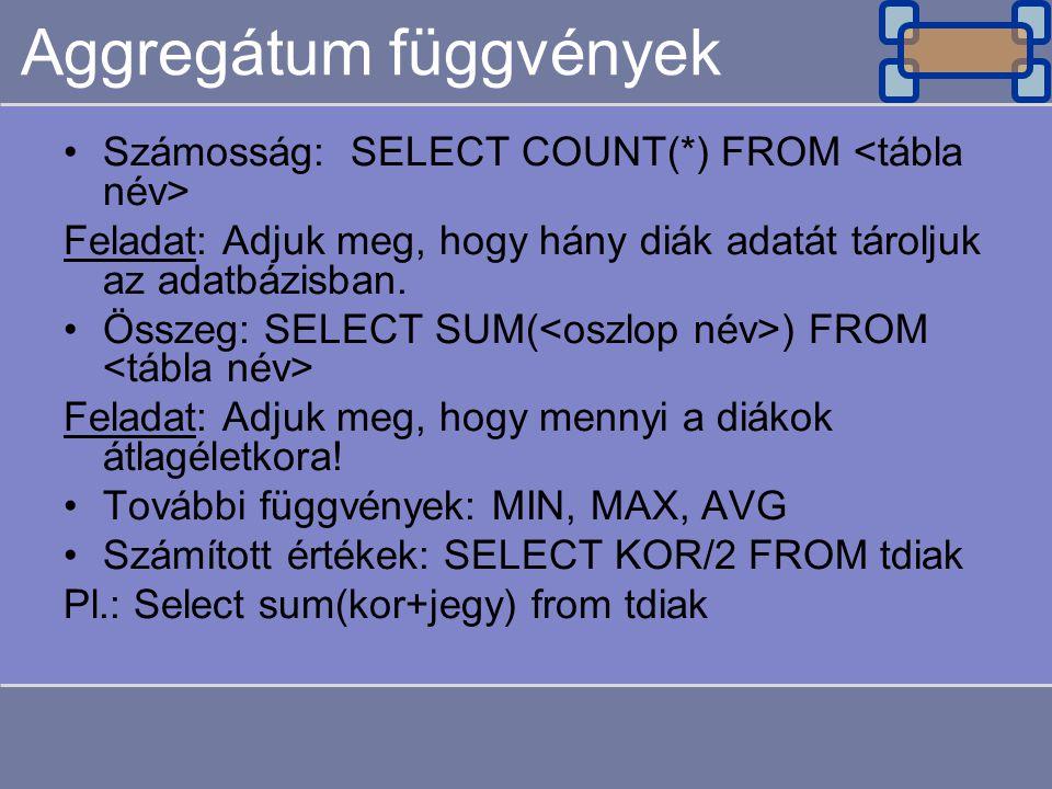 Aggregátum függvények Számosság: SELECT COUNT(*) FROM Feladat: Adjuk meg, hogy hány diák adatát tároljuk az adatbázisban.