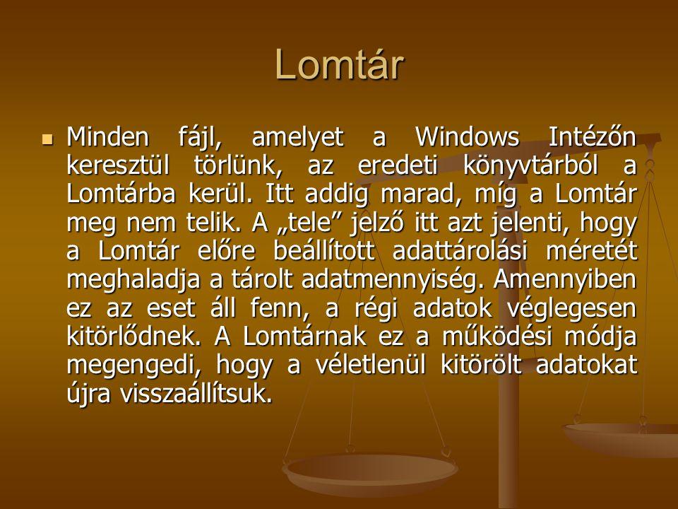 Lomtár Minden fájl, amelyet a Windows Intézőn keresztül törlünk, az eredeti könyvtárból a Lomtárba kerül.