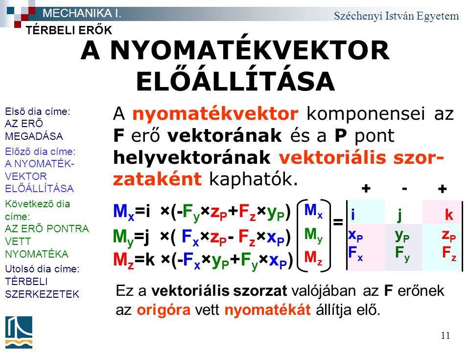 Széchenyi István Egyetem 11 A NYOMATÉKVEKTOR ELŐÁLLÍTÁSA TÉRBELI ERŐK MECHANIKA I. A nyomatékvektor komponensei az F erő vektorának és a P pont helyve
