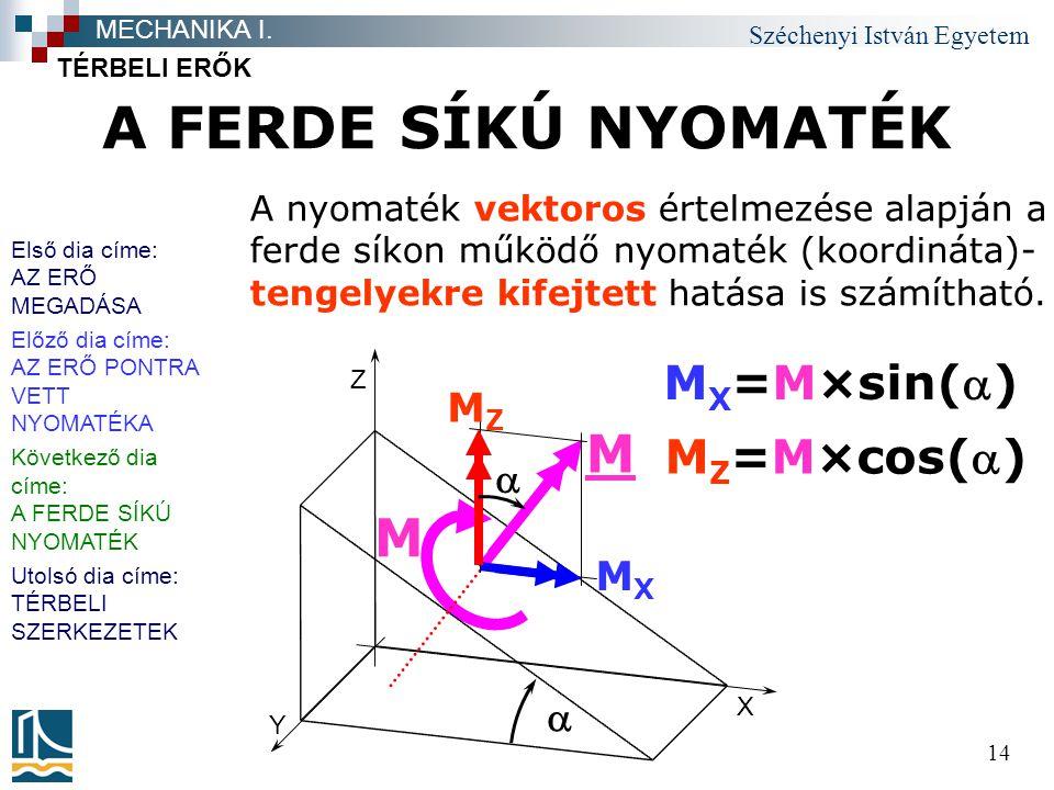 Széchenyi István Egyetem 14 A FERDE SÍKÚ NYOMATÉK TÉRBELI ERŐK MECHANIKA I. A nyomaték vektoros értelmezése alapján a ferde síkon működő nyomaték (koo