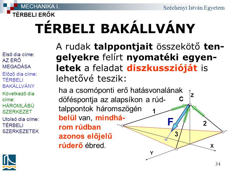 Széchenyi István Egyetem 34 ha a csomóponti erő hatásvonalának döféspontja az alapsíkon a rúd- talppontok háromszögén belül van, mindhá- rom rúdban az